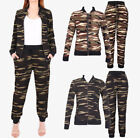 WOMENS Co-ord Stretch ARMY Camouflage Print Jogging Suit SET Tracksuit Pants