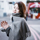 Gray Women's Winter Cashmere Blend Pashmina Solid Tassel Shawl Wrap Scarf Scarve