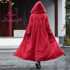 Women Warm Outwear Cotton Padded Coat Hooded Loose Mid Long Chinese Style Cloak