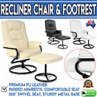 PU Leather Recliner Chair and Footrest Black White Beige