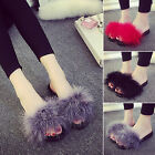 Womens Fluffy Fur Slides Outdoor Sandals Home Slipper Rubber Flip Flops GIFT