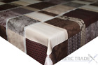 Plaid Floral Patchwork Brown PVC Tablecloth Vinyl Oilcloth Kitchen Dining Table