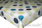 Lime Green & Blue Circles PVC Tablecloth Vinyl Oilcloth Kitchen Dining Table
