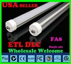 LOT 50 Single Pin 8FT 48W 5000K,6500K Clear Milky F96T12 T8 FA8 LED Tube Light B
