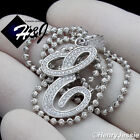 """18-30""""MEN 925 STERLING SILVER 2MM MOON CUT BEAD CHAIN ICED LETTER""""E"""" PENDANT*175"""