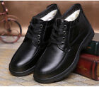 Men Black Winter Warm Lace Up Dress Formal Business Shoes Snow Fur Lining New