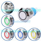 19mm 12V Ring LED Metal Latching/Momentary Push Button Switch 1NO1NC Waterproof