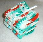 DISHCLOTHS~FACECLOTHS~Set 3~Crocheted~Cotton~Square~Soft~Absorbent~Colors Vary