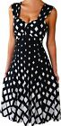 YD@ Funfash Plus Size Women White Black Diamond Midi Cocktail Dress Made in USA