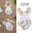 Newborn Baby Infant Girl Romper Jumpsuit Outfits Clothes +Headbands Xmas Deer