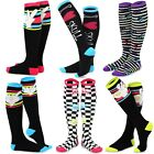 TeeHee Novelty Cotton Knee High Socks 6-Pack Women Monster Sharks Skull Big Foot
