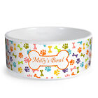 Personalised Bone/Paw Pattern Custom Design Dog Bowl Cat Pet Food Dinner Dish