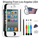 Swart/White Front Touch Screen Replacement Lens Glass Repair Kit For iPhone 4 4S