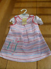 MARKS AND SPENCERS 100% COTTON PINK STRIPED DRESS PELICAN WHITE VEST SET 0 3 NEW