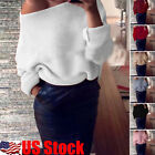 Women's Winter Sexy Off Shoulder Knitted Sweatshirt Baggy Casual Top Sweater USA