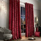 Luxury Crushed Velvet Curtain Pair Fully Lined Ring Top Eyelet Raspberry / Wine
