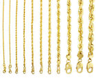 """10K Yellow Gold Solid 1mm-10mm Rope Chain Necklaces Bracelets Mens Women 7""""- 32"""""""