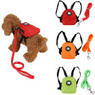 3Colors Small Dog Pet Cat Backpack Snack Storage Bag Harness with Lead Leash S/L