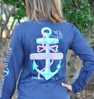 Southern Attitude Salty Anchor Bow Tie Long Sleeve Shirt Navy Blue or Seafoam