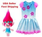 2018 Summer Girls Trolls Princess Poppy Fancy Party Flowery Birthday Dress O14 image