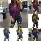 Sexy Womens V-Neck Lace Up Camo T-Shirt Long Sleeve Casual Loose Blouse Shirt HX