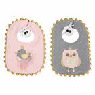 Mud Pie MK6 Baby Girl Cotton Chickadee Bird Or Owl Feeding Bib 1552219