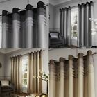 Two Chicago Faux Silk Pleat Lined Window Curtain Panels - Grommet - Gray Natural