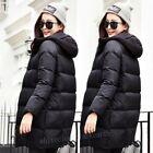 Winter Womens Casual Slim Hooded Over Knee Long Down Jacket Coats Parka Overcoat