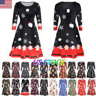 Hot Womens Xmas Christmas Santa Skater Ladies Snowman Swing Dress Plus Size Us