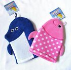 Bath Puppets Wash Sponge Mitts Set Of 2 Duck and Frog Or Dolphin and Fish More