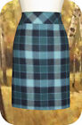 L.L. Bean Andover Plaid Skirt 4R Mallard Blue Lined Wool Blend Knee Length