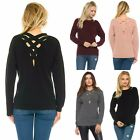 Cozy Ripped Neck Open Crisscross Back COMPLETELY REVERSIBLE Sweater 4 Colors S-L