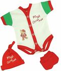 BabyPrem PREEMIE Baby Clothes Red Christmas NICU Vest Mittens & Hat Set 1-7lb
