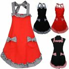 New Womens Ladies Bowknot Frill Kitchen Cooking Baking Restaurant Cotton Apron