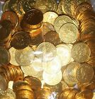 20 to 200 5p and 10p COINS LARGE MILK CHOCOLATE PARTY BAG FILLER - GOLD FOIL