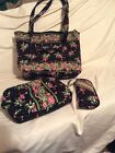 large vera brDley purse with make up bag and eyeglass case in euc
