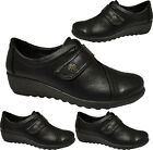 LADIES LOW WEDGE TOUCH FASTENING NURSE SHOES HOSPITAL WALKING COMFY WORK BOOTS S