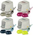 Enclosed Hooded Galaxy Cat Litter Tray + Easy Clean Scoop + 2 Food Drink Bowls