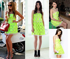 NewWT Karen Millen white lime neon floral lace embroidered dress UK 12 & 16 £199