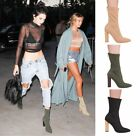 Ladies Womens Ankle Boots High Block Heel Knitted Stretchy Casual Shoes Size 3-8