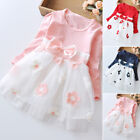 Baby Girls Long Sleeve Cotton Kids Toddler Tulle Party Wedding Dress Princess