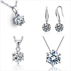 Uk Crystal Heart Sterling Silver Jewellery Set Gift Boxed