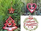 2 RED REINDEER WOODEN CHRISTMAS HANGING DECORATION ORNAMENT TREE HEART STAR