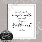 Coco Chanel Quote Beautiful Simplistic Typgraphy Quote Beauty Room Art Print