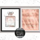 Fashion Art Abstract Faux Glitter Rose Gold Silver perfume bottle & quote prints