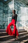 ZARA RED ASYMMETRIC FLARE TROUSERS SIZE SMALL REF 2312 778 NEW