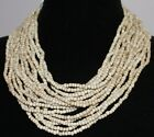 "ABOUT COLOR WOOD BOLD BEADED NECKLACE 24"" BLACK CREAM HANDMADE HAND STRUNG ALLOY"