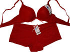 Push-Up BH Set mit Panty, T-Shirt BH Gr.70 Cup A, in rot, neu