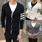 Men's Slim Cardigan Collar Jackets Jacket Tops Casual Coat Outerwear US Stock