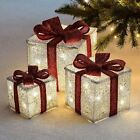 Set of 3 LED Light Up Decorative Christmas Parcel Set with Bow Decoration Lights